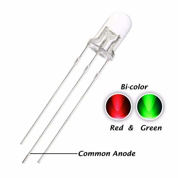Светодиод 5 мм красный-зеленый (матовый)