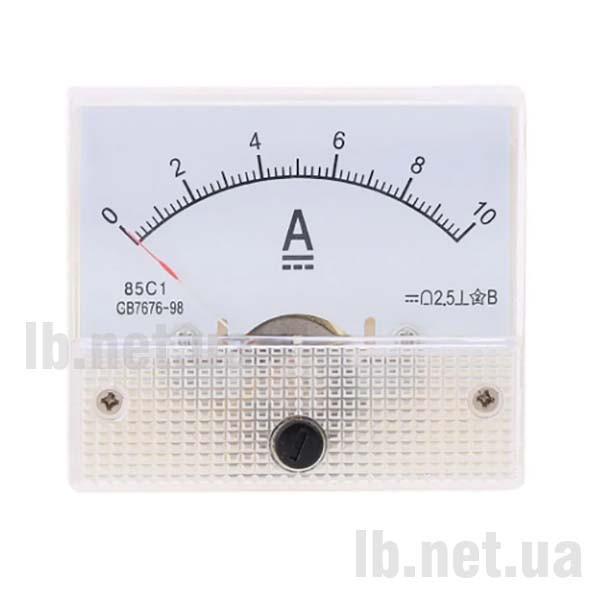 Амперметр панельный DC (стрелочный, 10A)